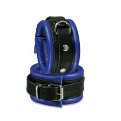 Leder-Fußfessel blau/schwarz